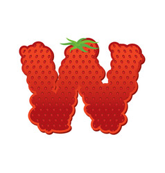 Letter w strawberry font red berry lettering vector