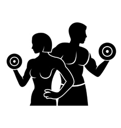 Man and Woman Fitness Silhouette Logo Icon vector image vector image