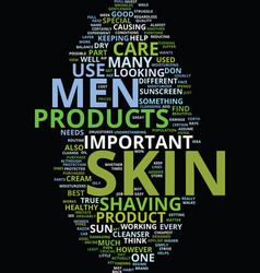 men skin care text background word cloud concept vector image