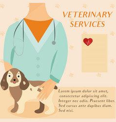 veterinary medicine hospital doctor with cute dog vector image vector image