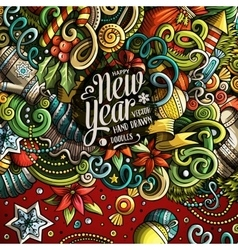 Cartoon cute doodles Happy New Year frame vector image