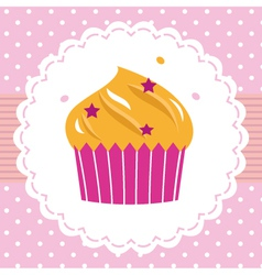 Cute party cupcake card vector image vector image
