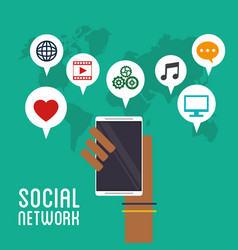 hand holds smartphone social network icons vector image vector image