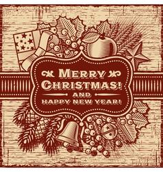 Merry Christmas Retro Card Brown vector image vector image