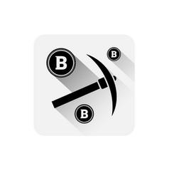 pickaxe with bitcoin sign icon modern web money vector image vector image