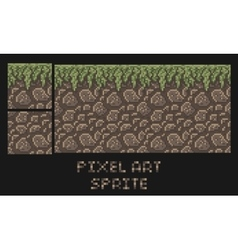Pixel art texture of stone dirt land with vector