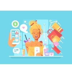 Young woman shopping online vector image vector image