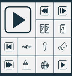 audio icons set collection of following song vector image vector image