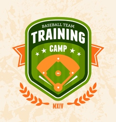 Baseball camp emblem vector image vector image