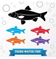 Fish icon Food symbol Cyprinidae family Crucian vector image vector image