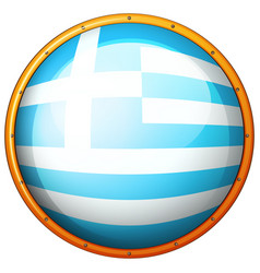 greece flag on round badge vector image