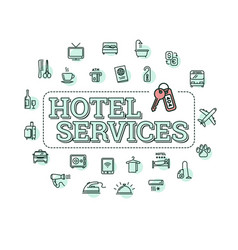monochrome hotel services concept vector image vector image