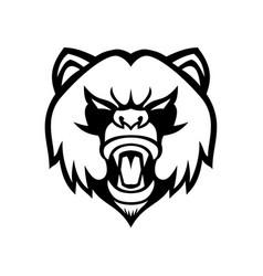 Angry giant panda head front mascot black vector
