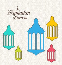Arabic card for ramadan kareem with colorful lamps vector