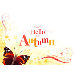 Autumn background with admiral butterfly vector