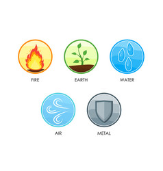 Ayurvedic five elements of nature set vector