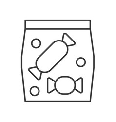 Bag of candy food outline icon vector