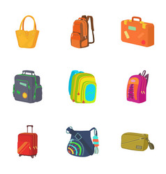 Baggage icons set cartoon style vector