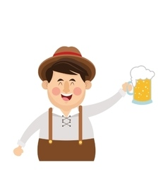 bavarian man with beer icon vector image