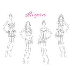 Beautiful fashion models in lace lingerie vector