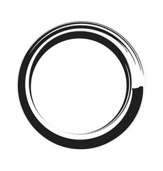 Black paint brush circle stroke abstract vector