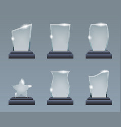 blank glass trophy award realistic decoration vector image