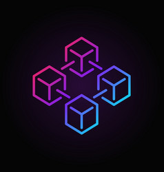 Blockchain colored icon made with 4 outline vector