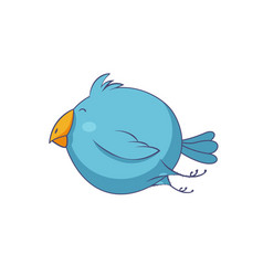 blue cartoon bird character vector image