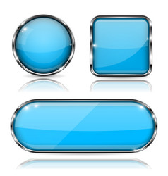 blue glass buttons with chrome frame set of shiny vector image