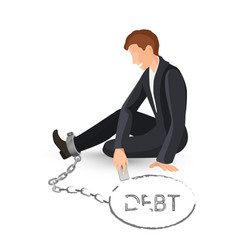 Businessman in metal handcuffs on leg vector
