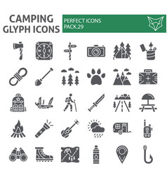 Camping glyph icon set hiking symbols collection vector