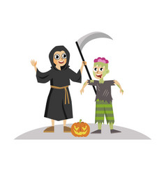 cartoon boys in halloween mystery costumes poster vector image