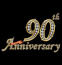 Celebrating 90th anniversary golden sign vector