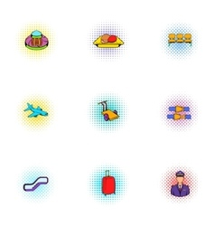 Check at airport icons set pop-art style vector
