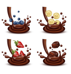 chocolate splash set with different fruits mix vector image