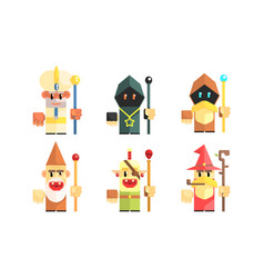 Cnomes dwarves with magical staves set fairy tale vector