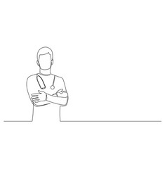 continuous one line man doctor with phonendoscope vector image