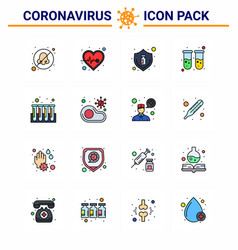 coronavirus prevention set icons 16 flat color vector image