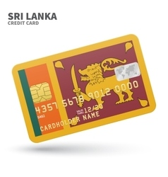 Credit card with Sri Lanka flag background for vector