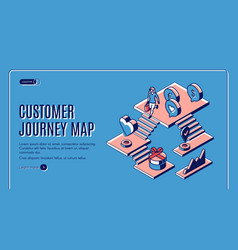 customer journey map isometric landing page banner vector image