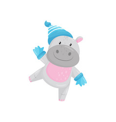 cute adorable hippo wearing blue knitted hat and vector image