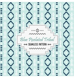 Cute blue tribal pixels pattern and white label vector