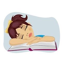 Cute little girl fallen asleep on her book vector