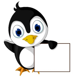 cute little penguin cartoon holding blank sign vector image