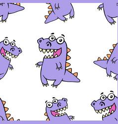 cute purple smiling dinosaur pattern vector image