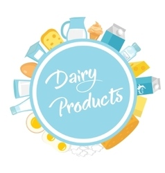 Dairy products frame Flat style Milk frames for vector