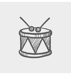 Drum with stick sketch icon vector image