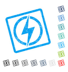 Electricity icon rubber watermark vector