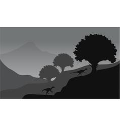 eoraptor in hills scenery vector image