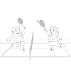 fat people playing tennis on the court white and vector image